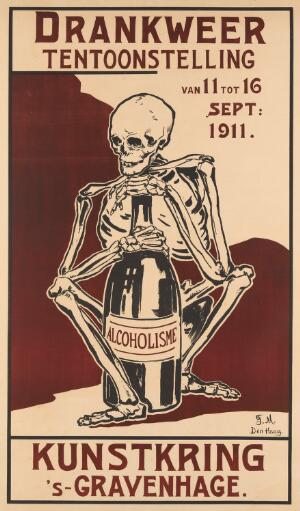 view Exhibition poster A skeleton clutching a bottle