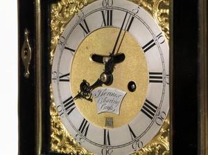 view A bracket clock (shelf clock, mantel clock). Construction and assembly by John Leroux, 177-
