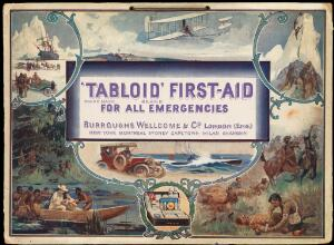 view Advertisement for Burroughs Wellcome showing various situations in which a Tabloid medicine chest would be useful. Colour process-print.