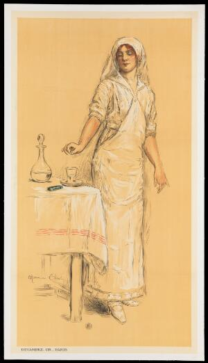 view A nurse dropping an aspirin pill into a glass of water; advertising soluble aspirin. Colour lithograph by M. Cliot, ca. 1910.