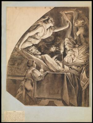 view A man on his deathbed. Drawing attributed to H.P. Bone.