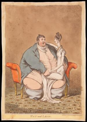 view Daniel Lambert contrasted with a thin woman seated on his knee. Coloured etching by C. Williams, 1806.