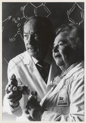 view George H. Hitchings and Gertrude (Trudy) B. Elion. Photograph by Will and Deni McIntyre, 1988.