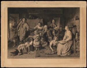view A blind girl reads the Bible by touch to her illiterate family in the dark; one man is tempted to go out and enjoy drunken revels in the daylight; representing light and darkness of the understanding. Engraving by W. Ridgway, 1871, after G. Smith.