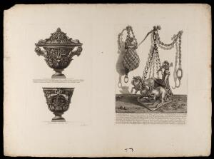 view Etchings of a marble urn and two bronze lamps