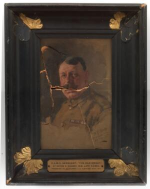 view A sergeant in the Royal Army Medical Corps. Oil painting by H.R. Mackey, 1918.
