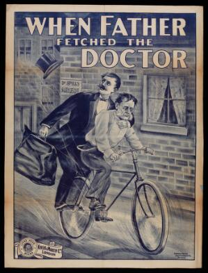 """view A man on a bicycle with a physician riding pillion; advertising the film """"When father fetched the doctor"""". Colour lithograph, 191-."""