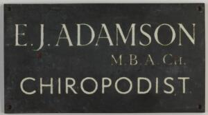 view Adamson's chiropodist plaque