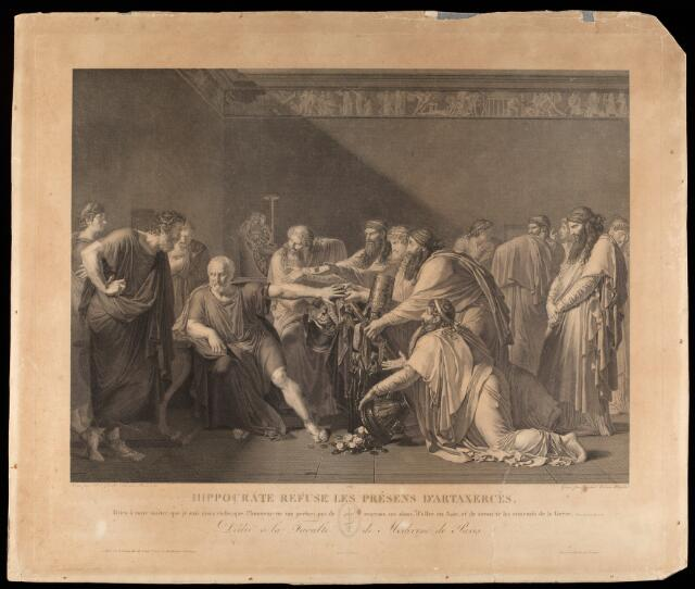 Hippocrates refusing the gifts of Artaxerxes. Engraving by Raphael Massard, 1816, after A.L. Girodet-Trioson, 1792.