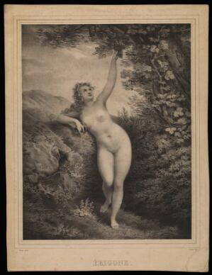 view Erigone, ensnared by Dionysus, reaching for grapes on a vine. Lithograph by B.-R. Julien, 1835, after L. Poyet.
