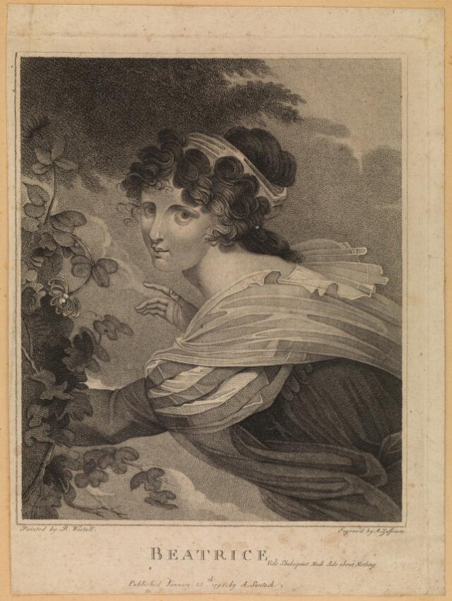 beatrice in shakespeare s much ado about nothing stipple engraving by a zaffonato 1795 after r westall