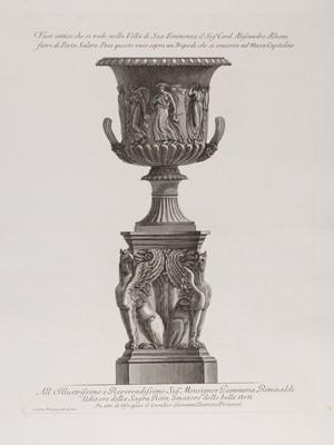 view A marble vase on a tripod. Etching by G.B. Piranesi, ca. 1770.