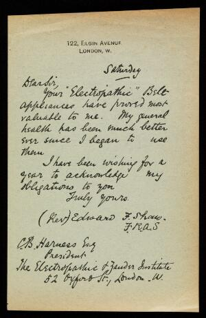 view Testimonial letter from Rev. Edward F. Shaw (of 122 Elgin Avenue, London) on the reverse side of advertisement.