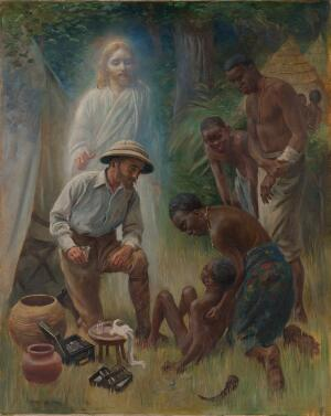 view A medical missionary attending to a sick African. Oil painting by Harold Copping (1863-1932).