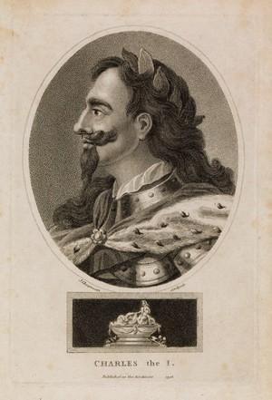 view King Charles I. Stipple engraving by J. Chapman, 1796.
