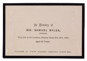 view Funeral card. Samuel Byles. 185-.