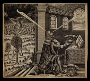 view King Charles I praying. Engraving by W. Marshall, 1649.