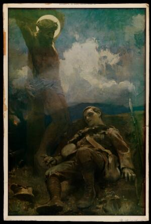 view The altruism of a soldier killed in World War I compared to the death of Christ on the cross. Colour process print after J. Clark, 1914.