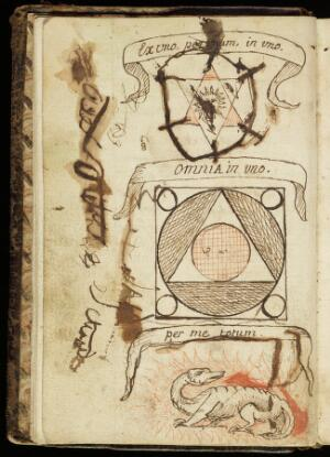 view Pen-drawings of alchemical symbolic subjects, 1702