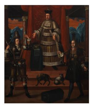 view Personifications of medicine, pharmacy and surgery. Oil painting after (?) Nicolas de Larmessin II (1638-1694).