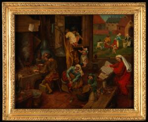 view An alchemist. Oil painting after Pieter Bruegel (approximately 1525-1569).