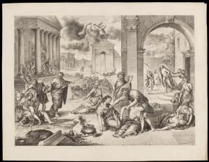 view The plague of the Israelites. Drawing by M. Penley, 18--, after G.E. Petit after P. Mignard.
