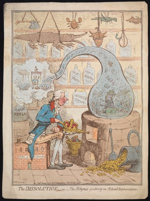 view Etching of an alchemist distilling the House of Commons, a satire on the dissolution of parliament by William Pitt, by James Gillray, 1796.