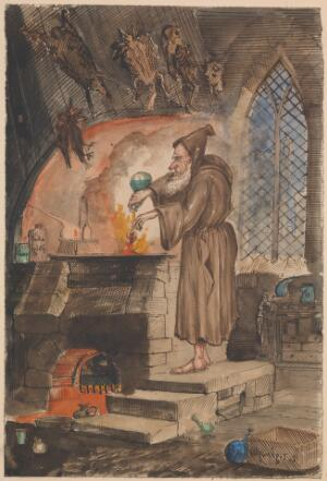 view Watercolour caricature of an alchemist at a furnace.