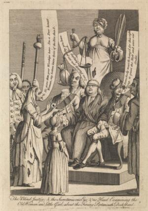 view Sir John Fielding judges a case of arson while surrounded by personifications of perverted justice. Engraving, 1771.