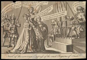 view Sir John Fielding wearing a blindfold sits in a chair holding instruments of justice before Madam Cornelys on the shoulders of a lawyer and the Duchess of Northumberland. Engraving, 1771.