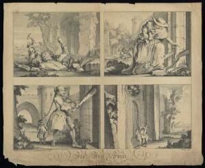 view Sir Robert Walpole as Jack in 'Jack and the beanstalk'; representing his domination by the giants Spain and potentially France in the 'War of Jenkin's Ear'. Engraving by C Mosley, 1739.