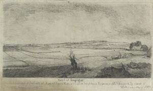 view A Dutch landscape: fields, a farmer in an oxcart, and, in the centre foreground, a dead tree. Etching by W. Baillie, 1760.