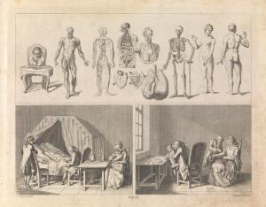 view Anatomical figures (top); a physician takes the pulse of a sick man while the next two generations attend (bottom left); surgeons perform operations on a child and a woman. Etching by D. Berger, 1774, after D. Chodowiecki.