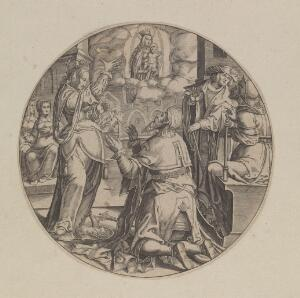 view Augustus and the Tiburtine sibyl. Engraving attributed to B.W. Dolendo, 16--, after L. van Leiden.