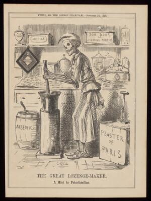 view Death as a lethal confectioner making up sweets using arsenic and plaster of Paris as ingredients; representing the toxic adulteration of sweets in the 1858 Bradford sweets poisoning. Wood engraving after J. Leech, 1858.