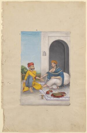view An Ayurvedic medical practitioner taking the pulse. Watercolour, ca. 1825.