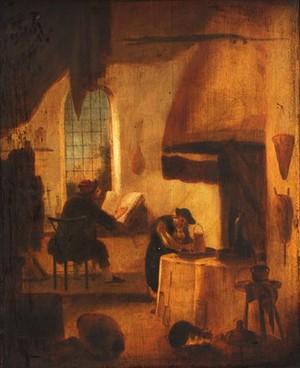view Alchemists (?). Oil painting.