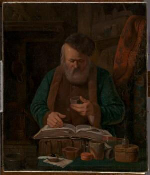 view An alchemist or chemist examining a liquid. Oil painting attributed to Charles-Emile Francois, 1841.