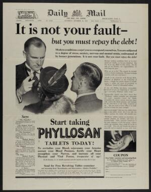 view Phyllosan: a doctor telling a couple to take Phyllosan to compensate for the stress of modern life. Halftone and letterpress, 1937.