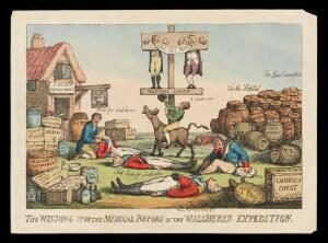 view The Walcheren inquiry into the misconduct of the Army Medical Board of three, resulting in its abolition. Etching attributed to T. Rowlandson. 1810.