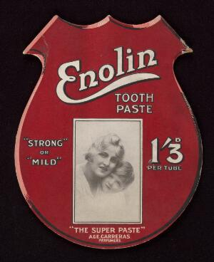 """view Diecut show card for Enolin Tooth Paste : """"strong"""" or """"mild"""""""