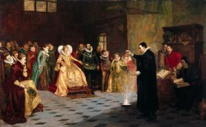 view John Dee performing an experiment before Queen Elizabeth I. Oil painting by Henry Gillard Glindoni.