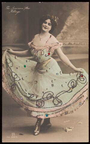 view Julian Eltinge in drag. Coloured photographic postcard, ca. 1907.