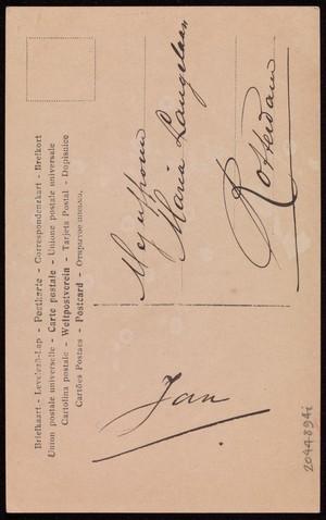 view Verso, Julian Eltinge in drag. Coloured photographic postcard