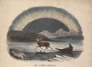 view Aurora Borealis. Coloured wood engraving by C. Whymper.