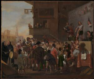 view A crowd watching a troupe of quack-doctors on a stage outside an inn. Oil painting by a Flemish painter, ca. 1640(?).