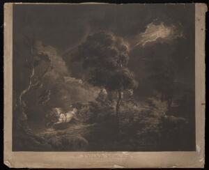 view A storm in a wild and rocky landscape: lightning flashes while a man drives a a coach and four hourses through the darkness. Mezzotint by S.W. Reynolds the elder after G. Morland, 1798.