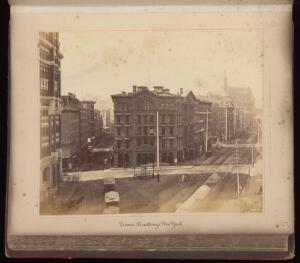 view Folio 5 recto : The New York Times building, New York City, United States of America. Photograph, ca. 1880. Albumen print.