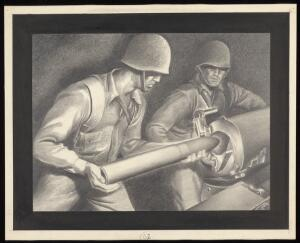 view American soldiers loading artillery...Drawing by A.L. Tarter.