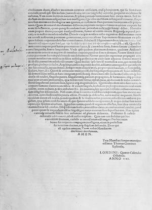 "view Verso of dedication ""Compendiosa...anatomiae "", Geminus, 1545"